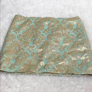 Aqua & Gold J. Crew Mini Skirt Sz 8